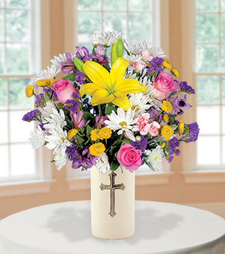 Sympathy Cross Vase - White, Yellow & Pink