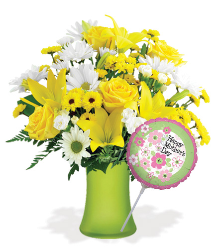 Delightful Mom with Vase & Mother's Day Balloon