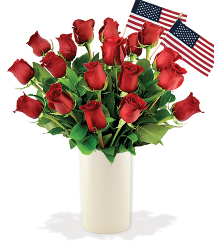 18 Red Roses with USA Flags