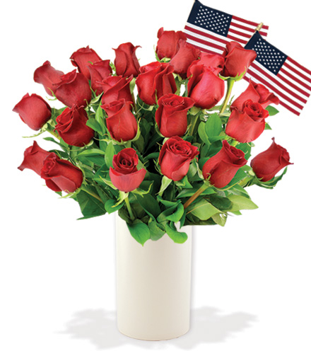 24 Red Roses with USA Flags