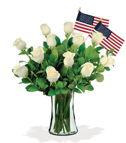 12 White Roses with USA Flags