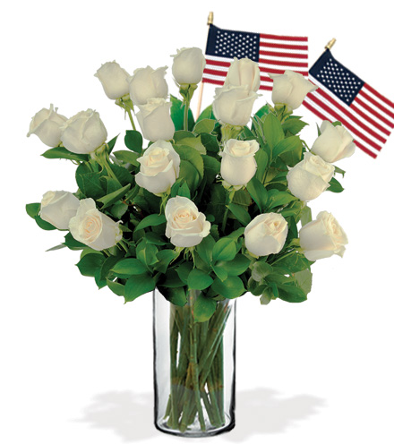 18 White Roses with USA Flags