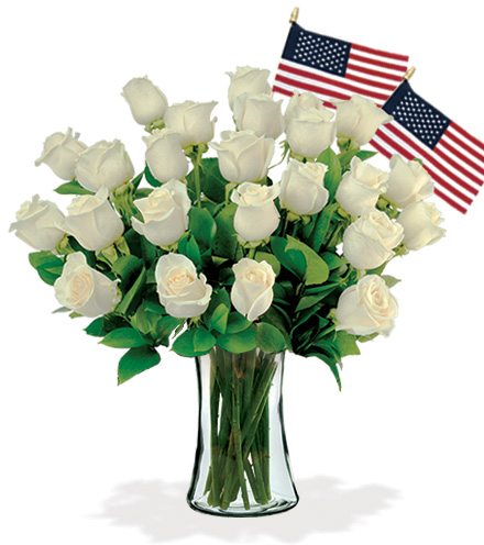 24 White Roses with USA Flags