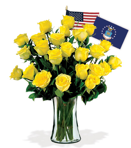 12 Yellow Roses - Air Force