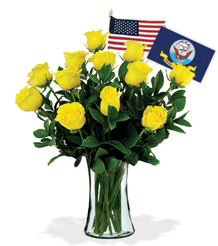 12 Yellow Roses - Navy