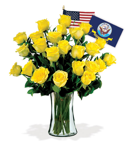 24 Yellow Roses - Navy