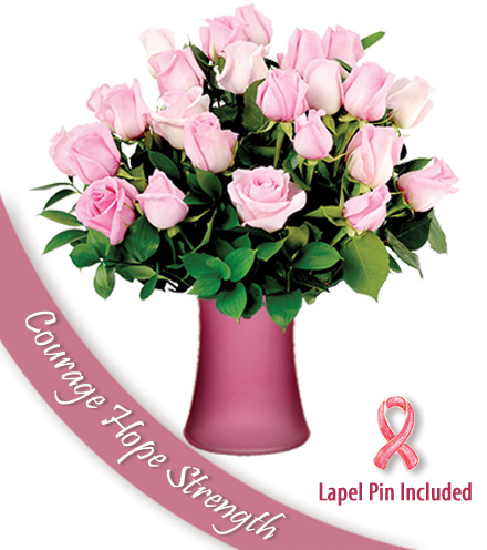 24 Roses of Courage - Pink Vase and Pin