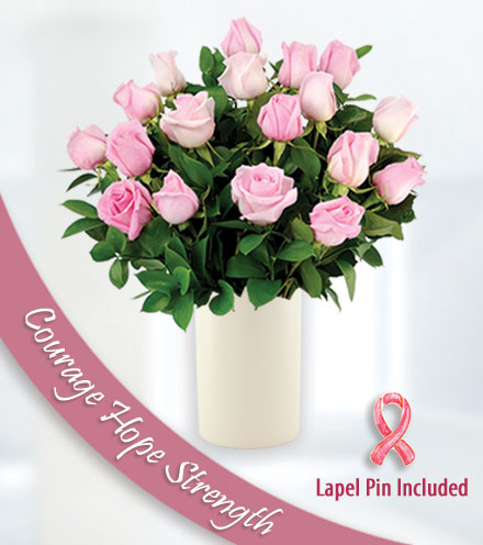 12 Roses of Courage - White Vase and Pin
