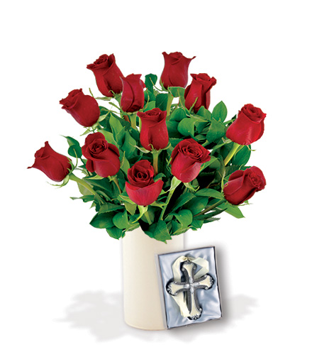 12 Red Roses with Cross Ornament