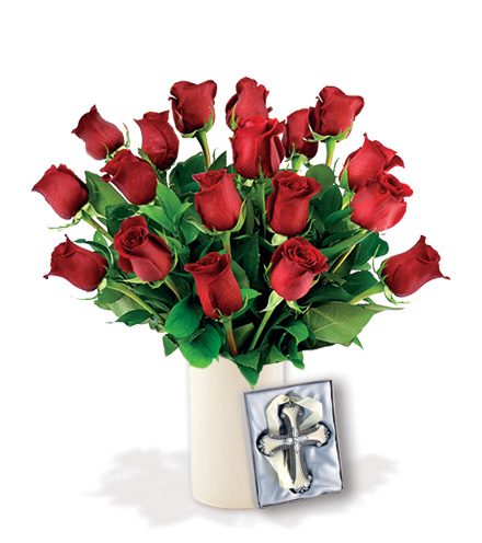 18 Red Roses with Cross Ornament
