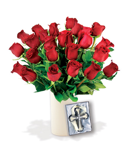 24 Red Roses with Cross Ornament