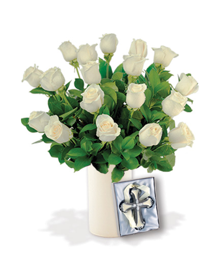 18 White Roses with Cross Ornament
