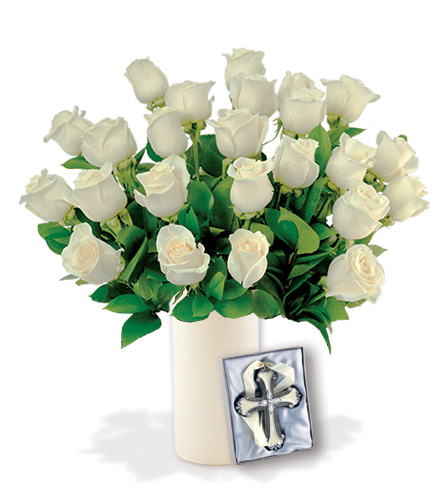 12 White Roses with Cross Ornament