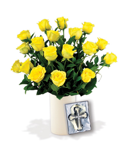 18 Yellow Roses with Cross Ornament