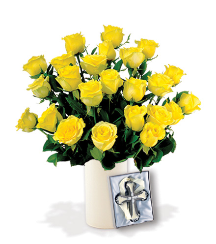12 Yellow Roses with Cross Ornament