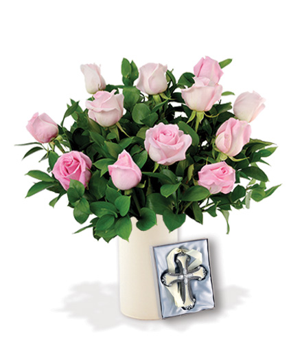 12 Pink Roses with Cross Ornament