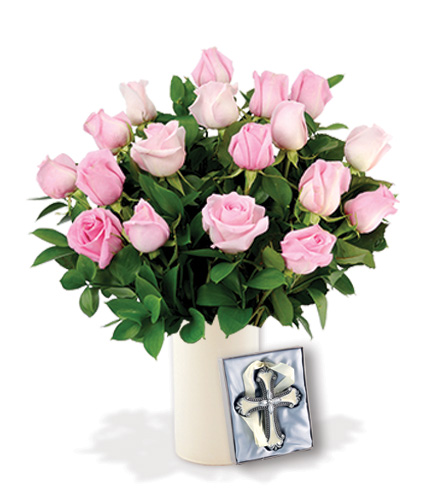 18 Pink Roses with Cross Ornament