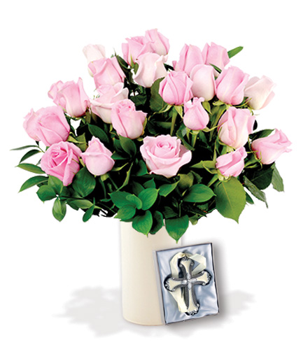 24 Pink Roses with Cross Ornament