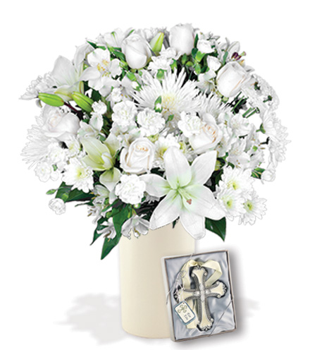 Classic All White with Cross Ornament