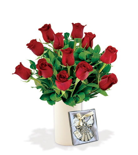 12 Red Roses with Angel Ornament