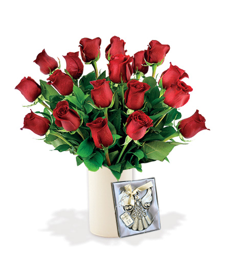 18 Red Roses with Angel Ornament