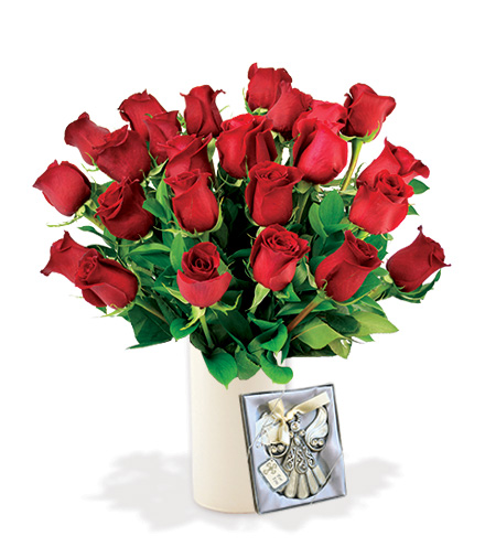 24 Red Roses with Angel Ornament