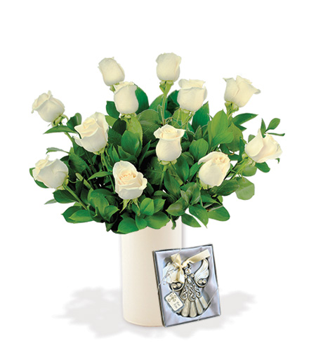 12 White Roses with Angel Ornament