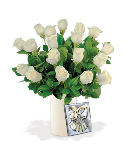 18 White Roses with Angel Ornament