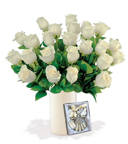 24 White Roses with Angel Ornament