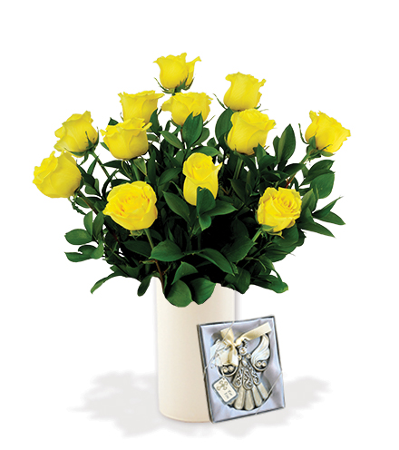 12 Yellow Roses with Angel Ornament