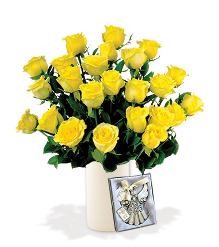24 Yellow Roses with Angel Ornament