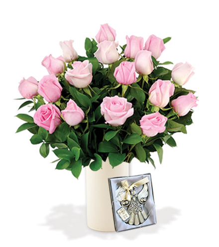18 Pink Roses with Angel Ornament