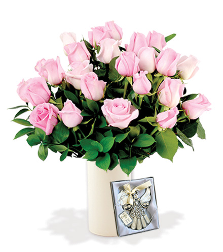 12 Pink Roses with Angel Ornament