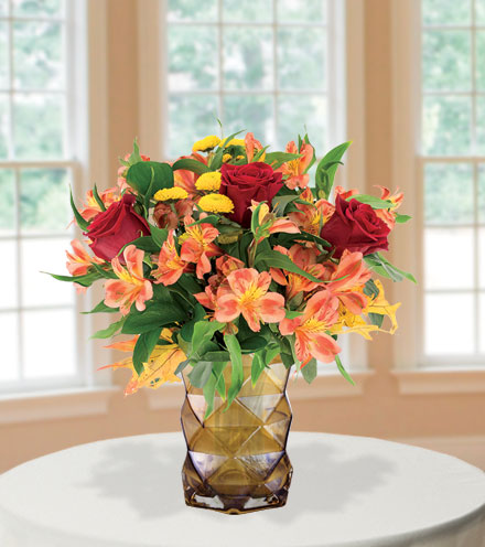 Autumn Burst with Amber Vase