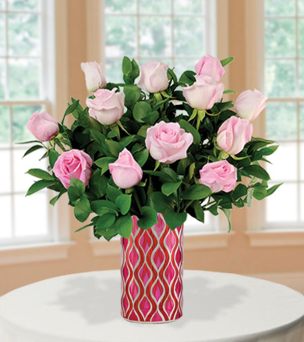12 Pink Roses with Mosaic Vase