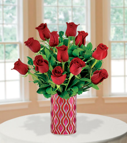 12 Red Roses with Mosaic Vase