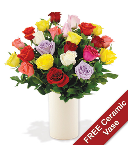 24 Multi-Color Roses with Ceramic Vase