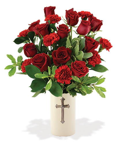 Treasured Moments with Cross Vase - Red