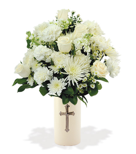 Treasured Moments with Cross Vase - White