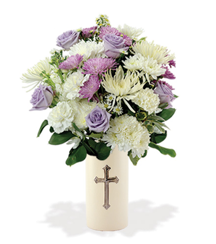 Treasured Moments with Cross Vase - Lavender & White