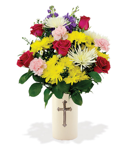 Treasured Moments with Cross Vase - Multi-Colored