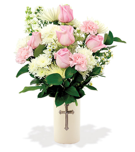Treasured Moments with Cross Vase - Pink & White