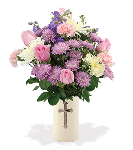 Treasured Moments with Cross Vase - Pink, Lavender & White