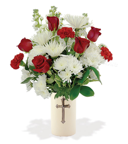 Treasured Moments with Cross Vase - Red & White