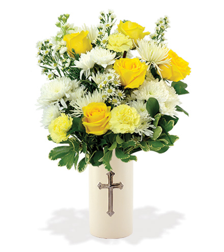 Treasured Moments with Cross Vase - Yellow & White