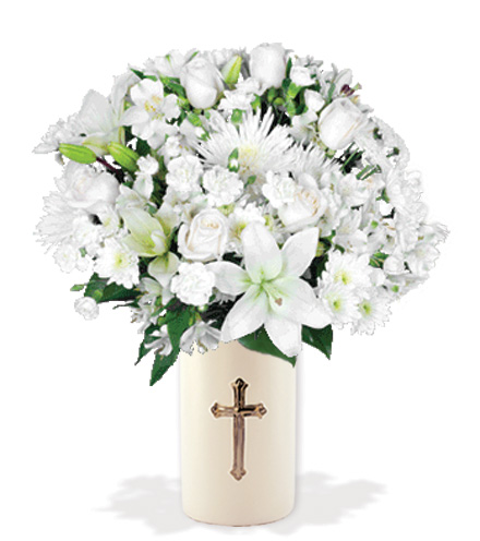 Eternal Blessings with Cross  Vase