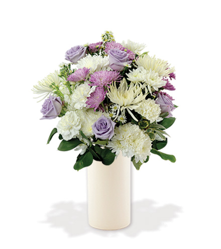 Treasured Moments with White Vase - Lavender & White