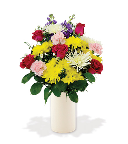 Treasured Moments with White Vase - Multi-Colored