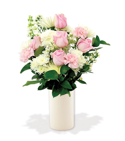 Treasured Moments with White Vase - Pink & White