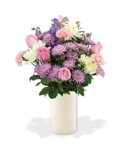 Treasured Moments with White Vase - Pink, Lavender & White